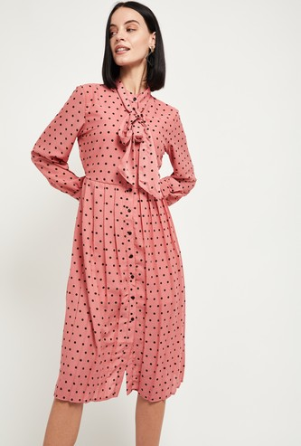 MAX Polka-Dot Print Shirt Dress with Tie-Up Neck
