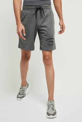 MAX Typographic Print Textured Sports Shorts