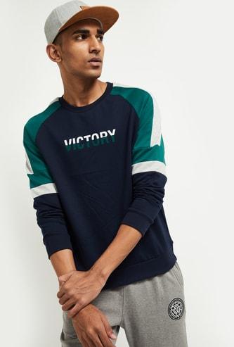 MAX Typographic Print Sweatshirt with Raglan Sleeves