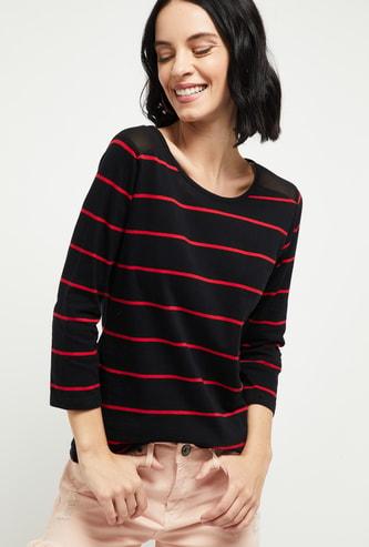 MAX Striped Round-Neck T-shirt