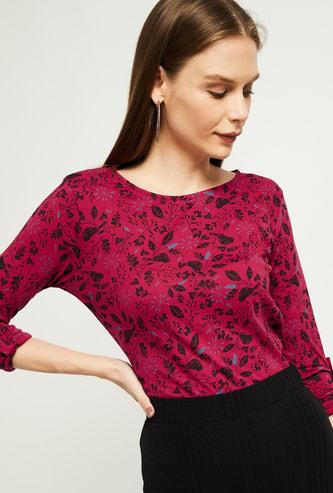 MAX Tropical Print Three-quarter Sleeves T-shirt
