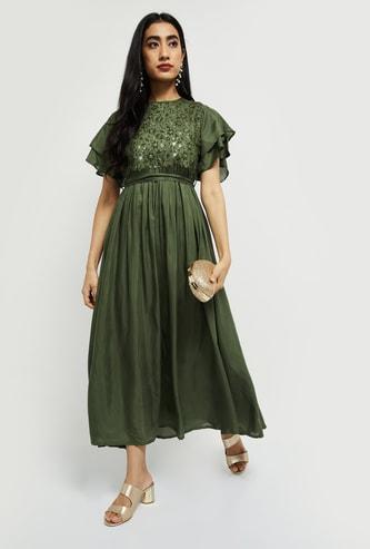 MAX Embellished Flutter Sleeves Maxi Dress