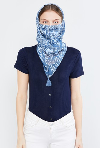 MAX Printed Tassel Detailed Scarf Mask