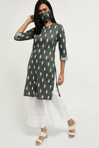 MAX Printed Straight Kurta with Mask