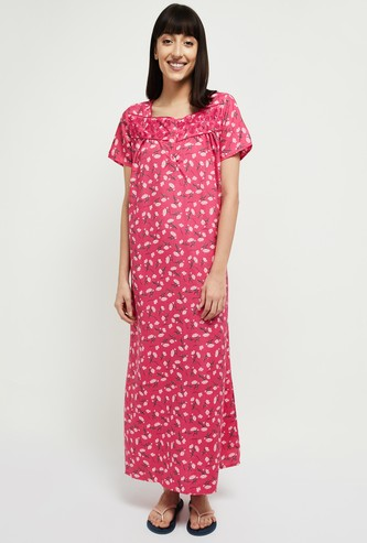 MAX Printed Square Neck Night Gown