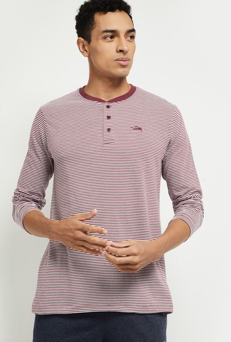MAX Striped Lounge Henley T-shirt