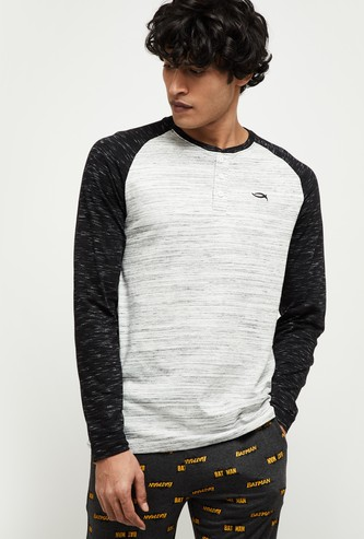 MAX Colourblock Lounge Henley T-shirt with Raglan Sleeves