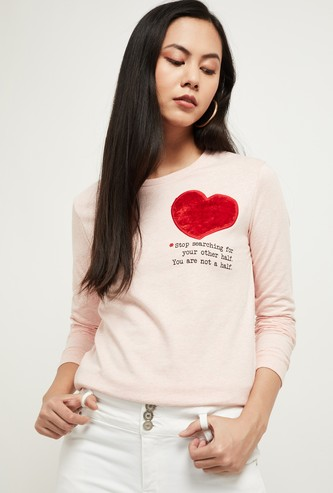 MAX Typographic Print Sweatshirt with Applique