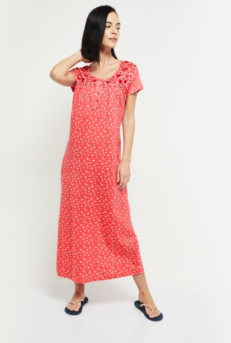 MAX Floral Print Night Dress with Embroidery