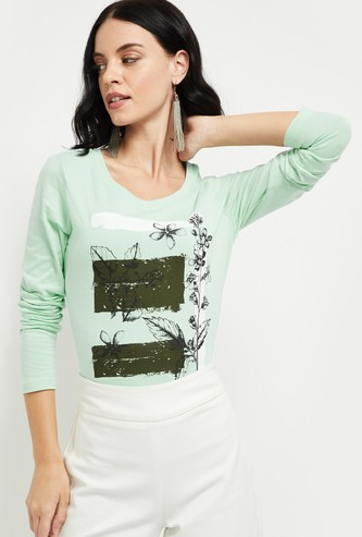 MAX Printed T-shirt with Long Sleeves