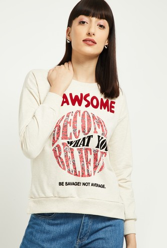 MAX Graphic Print Sequinned Drop-Shoulder Sweatshirt
