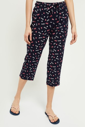 MAX Printed Capris with Scoop Pockets