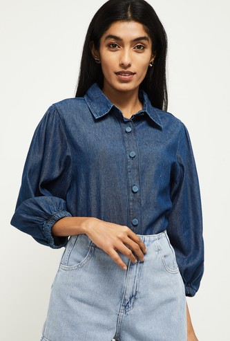 MAX Solid Three-quarter Sleeves Denim Shirt