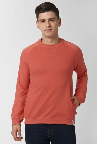 PETER ENGLAND Solid Raglan Full Sleeves Sweatshirt