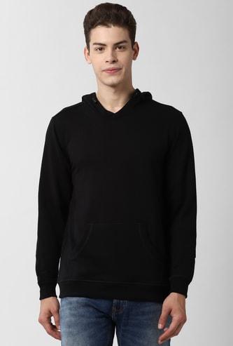 PETER ENGLAND Solid Full Sleeves Hooded Sweatshirt