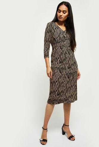 MAX Animal Print Three-quarter Sleeves Sheath Dress