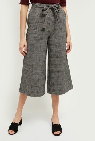 MAX Checked Culottes with Sash Tie-Up