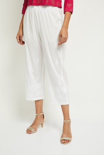 MAX Embroidered Elasticated Straight Pants