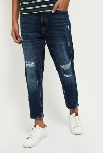 MAX Dark Washed Distressed Ankle-Length Carrot Fit Jeans
