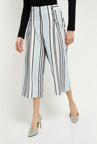 MAX Striped Elasticated Waist Culottes