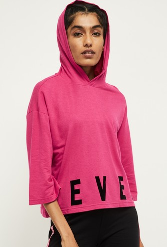 MAX Typographic Print Hooded T-shirt