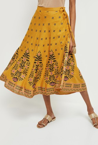 MAX Floral Print A-line Midi Skirt