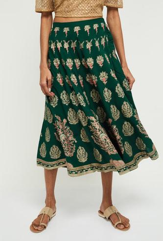 MAX Floral Print Elasticated Skirt