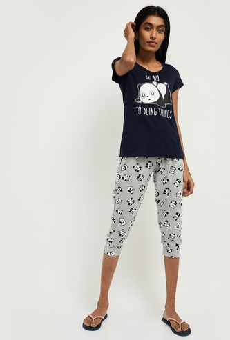 MAX Printed Cap Sleeves T-shirt with Capris