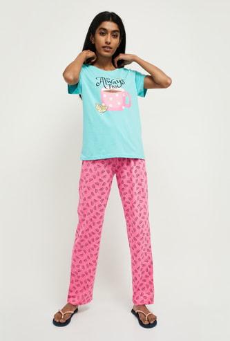 MAX Printed Cap Sleeves T-shirt with Drawstring Pyjamas