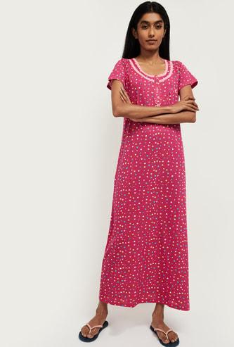 MAX Printed Cap Sleeves Nightgown