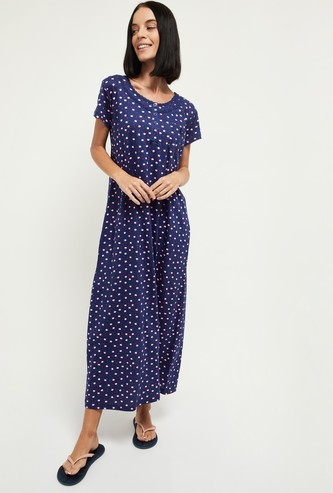 MAX Printed Short Sleeves Night Gown