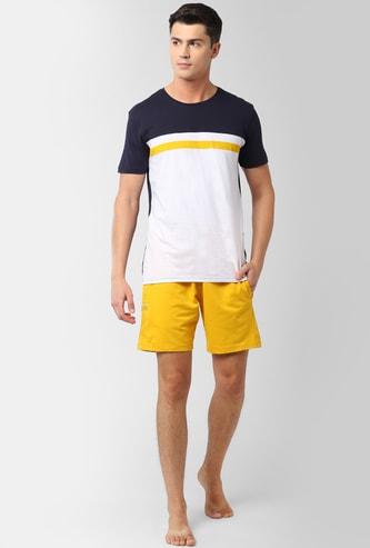 PETER ENGLAND Colourblocked Loungewear T-shirt with Shorts