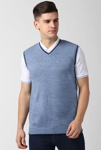 PETER ENGLAND Solid V-neck Sweater Vest