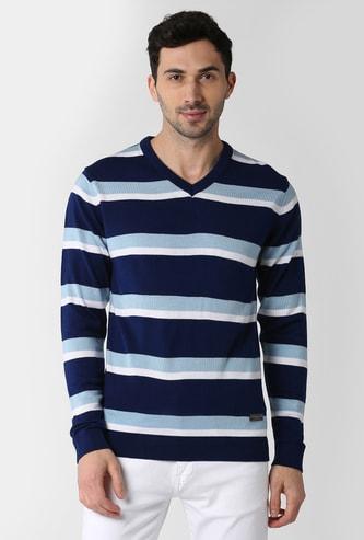 PETER ENGLAND Striped V-neck Sweater