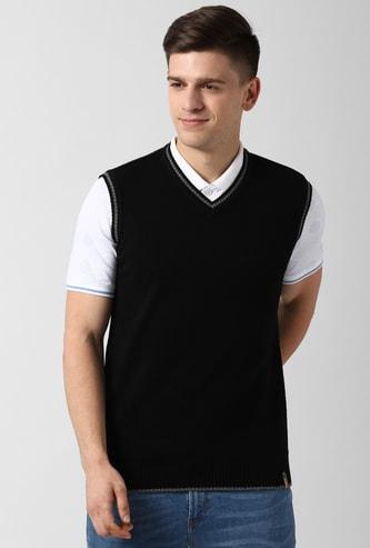 PETER ENGLAND Solid Sleeveless Sweater Vest