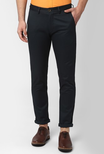 PETER ENGLAND Solid Slim Fit Casual Trousers