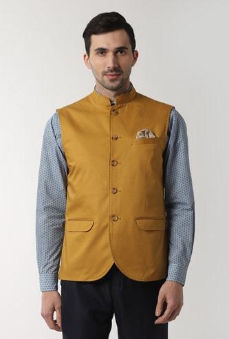 PETER ENGLAND Solid Button-Down Nehru Jacket