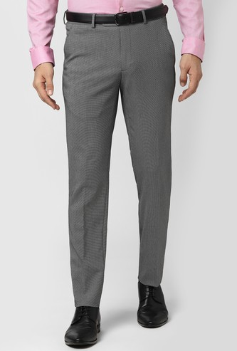 PETER ENGLAND Textured Slim Fit Formal Trousers