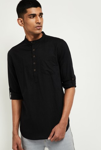 MAX Solid Shirt Kurta with Band Collar