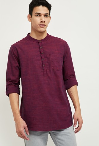 MAX Textured Short Kurta with Patch Pocket