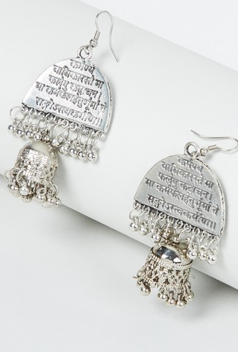MAX Beaded Drop-Earrings with Typographic Engraving