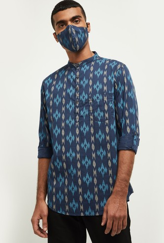 MAX Printed Full Sleeves Kurta with Mask
