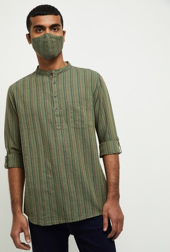 MAX Striped Full Sleeves Short Kurta