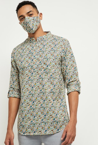 MAX Floral Print Full Sleeves Kurta with Mask