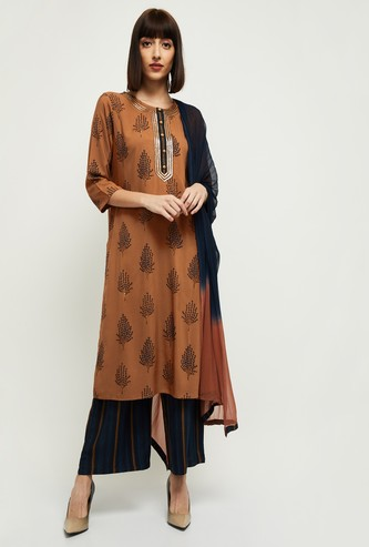 MAX Embellished Kurta with Ombre Dupatta and Striped Palazzos