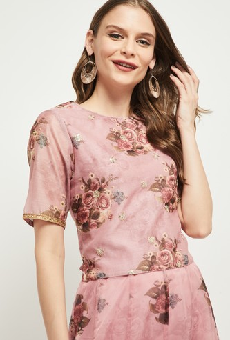 MAX Floral Print Round Neck Blouse
