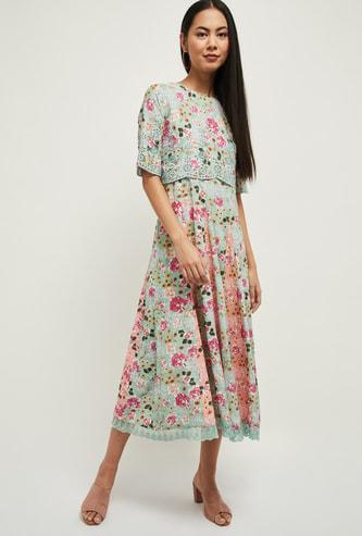 MAX Floral Print Layer Dress