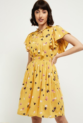 MAX Floral Print Fit and Flare Dress with Flutter Sleeves