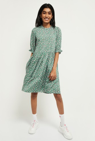 MAX Floral Print Short Sleeves A-line Dress