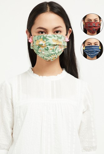 MAX Printed Reversible Tasselled Fashion Masks - Pack of 3